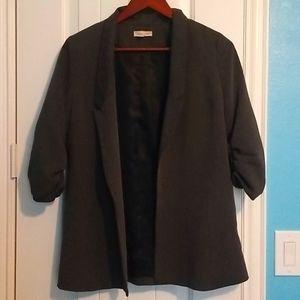 Gray Half Sleeve Scrunched Blazer